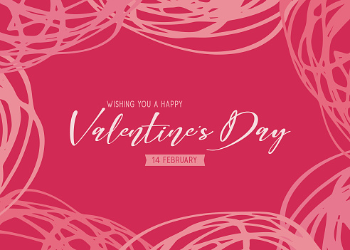 Valentine's Day scribbles greeting card - pink background