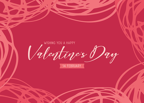 Valentine's Day scribbles greeting card - red background