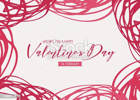 Valentine's Day scribbles greeting card - red color