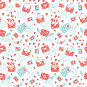 Valentine's day seamless pattern. Envelope with hearts, stamps and hearts, love postcard with letters. Flying envelope heart with wings. Vector illustration background.