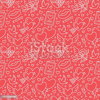 istock Valentines day seamless pattern. Love, romance flat line icons - hearts, chocolate, kiss, Cupid, doves, valentine card. Red white wallpaper for february 14 celebration 1076650480