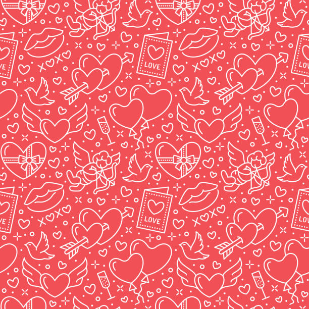 valentines day seamless pattern. love, romance flat line icons - hearts, chocolate, kiss, cupid, doves, valentine card. red white wallpaper for february 14 celebration - kiss stock illustrations