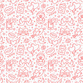 Valentines day seamless pattern. Love, romance flat line icons - hearts, engagement ring, kiss, balloons, doves, valentine card. Red white colored wallpaper for february 14 celebration