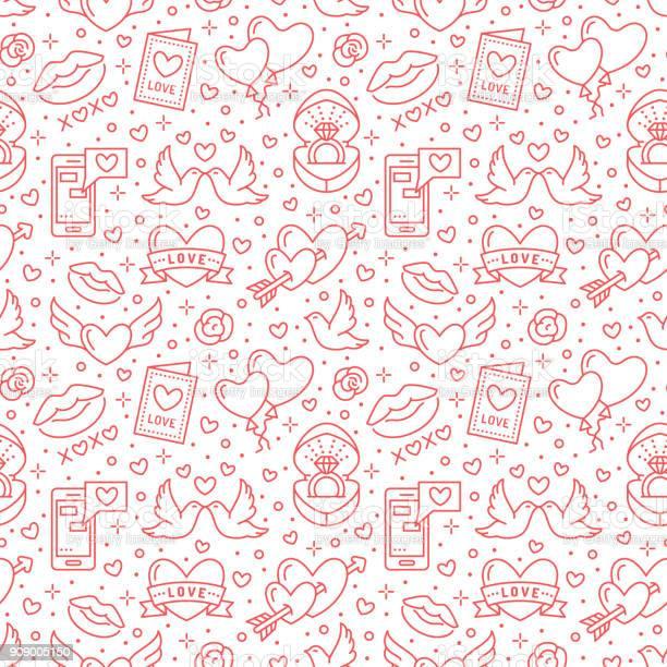 Valentines day seamless pattern love romance flat line icons hearts vector id909005150?b=1&k=6&m=909005150&s=612x612&h=too4ehl7lnrjqvujbr3n eom1wbvlv ycu5mg5wvzhc=