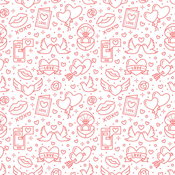 illustrazioni stock, clip art, cartoni animati e icone di tendenza di valentines day seamless pattern. love, romance flat line icons - hearts, engagement ring, kiss, balloons, doves, valentine card. red white colored wallpaper for february 14 celebration - sfondo matrimoni