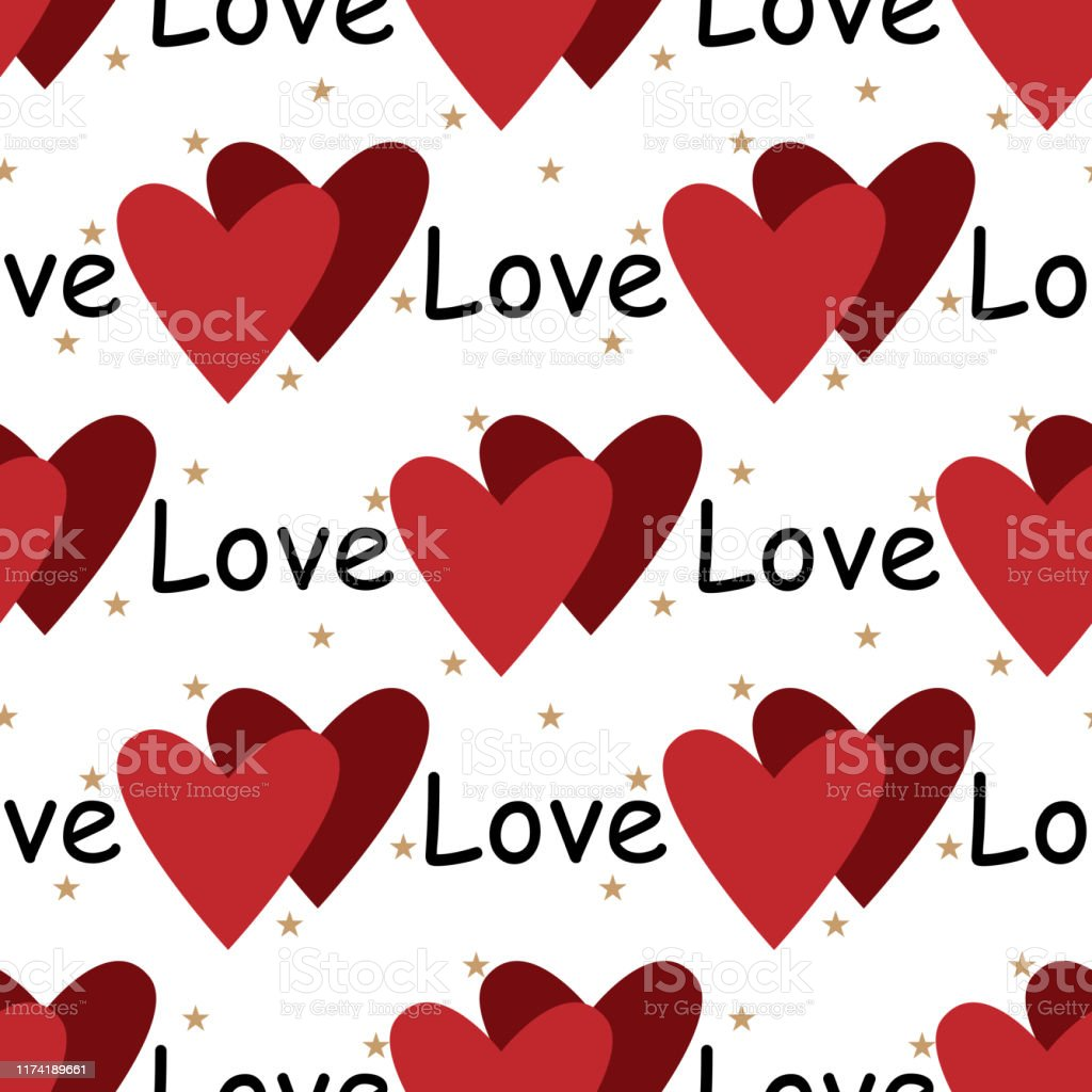 Valentines Day Seamless Pattern Of Red Heart Tiny Star And Love Text On White Background Vector Illustration Stock Illustration Download Image Now Istock