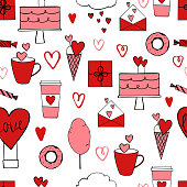 Valentine's Day seamless pattern with red and pink elements