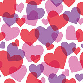 Valentine's Day Seamless Pattern With Red Hearts - Illustration