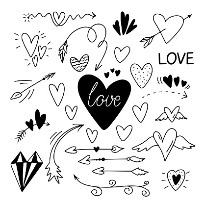 Valentines Day set arrows, hearts,  love lettering and etc.