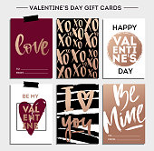 Valentines Day Set. Cards Collection, Gift Cards, Hand Lettering