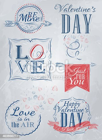Valentine's Day and Love lettering collection of Valentine's Day from letters stylized for the drawing with chalk of blue.