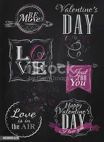 Valentine's Day and Love lettering collection of Valentine's Day from letters stylized for the drawing with chalk of pink on the blackboard