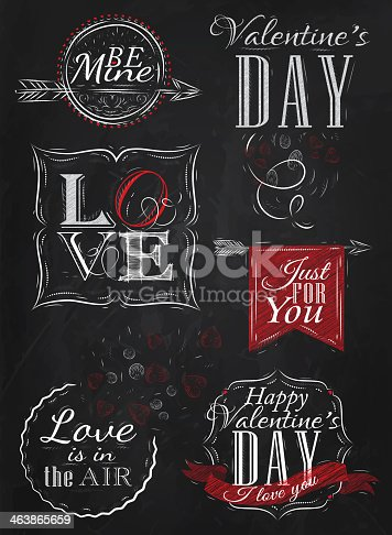 Valentine's Day and Love lettering collection of Valentine's Day from letters stylized for the drawing with chalk of red on the blackboard