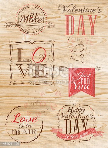 Valentine's Day and Love lettering collection of Valentine's Day from letters stylized for the drawing with red on the wood board