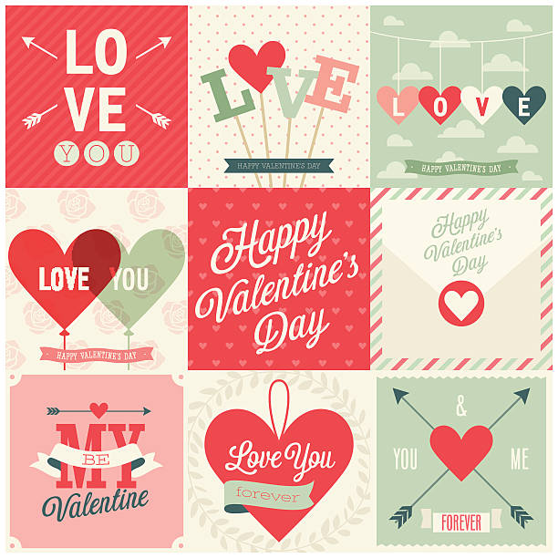 Valentine`s day set - emblems and cards. Valentine`s day set - emblems and cards. Vector illustration. valentine card stock illustrations