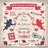Valentine's Day set, German. Grafische elemente für Den Valentinstag