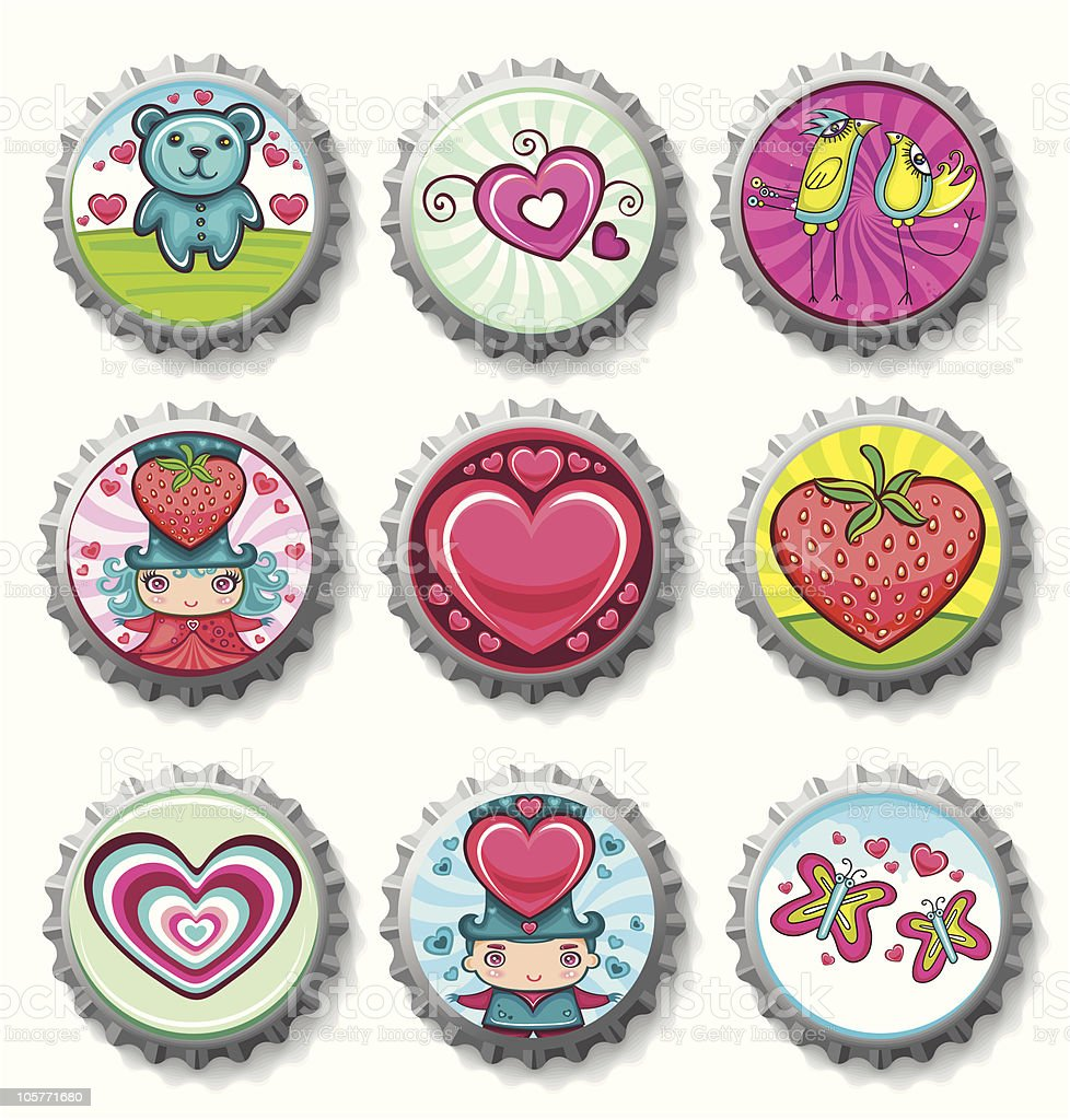 Valentines Day Set Of Bottlecaps Stock Vector Art More Images Of