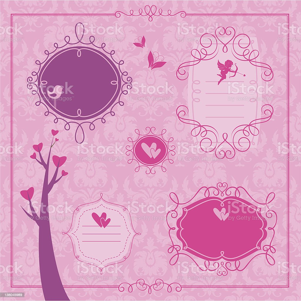Valentine's day set of frames and design elements royalty-free stock vector art