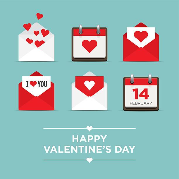 valentinstag-satz von symbolen - vintage kalender stock-grafiken, -clipart, -cartoons und -symbole