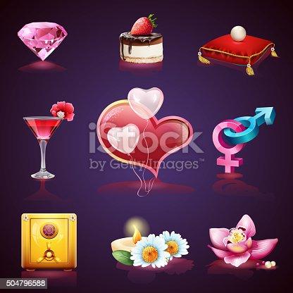 Valentines Day. Set of romantic elements