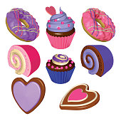 Valentines Day Set of Sweet Desserts Isolated on White Background. Cupcakes, Donuts, Rolls and Cookies in Pink and Purple. Vector 3D Realistic Illustrations.