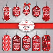 Valentine's Day set of ten Price Tags in red colors.