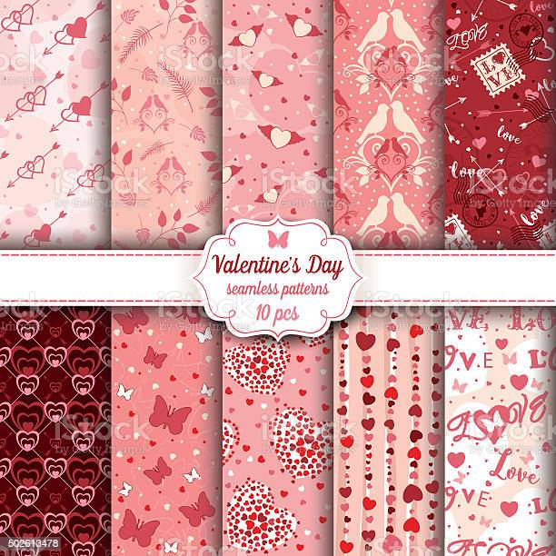Valentines day set of ten seamless romantic patterns vector id502613478?b=1&k=6&m=502613478&s=612x612&h=viu0iz7upty6ygux2ez2f0yvlzy9ah1sb8nb5all oc=