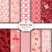 Valentine's Day set of ten seamless patterns. The color palette is neutral (not vibrant, close to vintage colors). The used colors are a tint of burgundy, red, pink, beige and white.