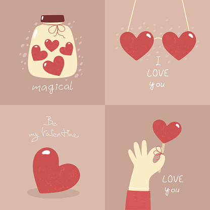 Valentine's Day - set of vector cards in flat style.