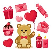 Valentine's Day Set: Teddy Bear, Heart, Gift, Present, Cupcake, Balloon, Candy, Envelope, Candles. Isolated Vector Elements on White Background.