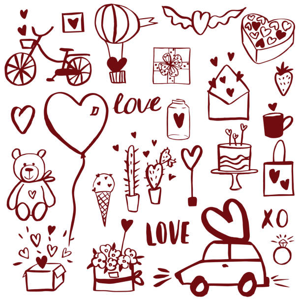 Valentine's Day set. Valentine's Day set.  Vector sketch  illustration. car love stock illustrations