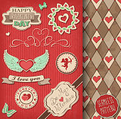 A set of Valentine's day decorations, labels and backgrounds. EPS10 vector illustration, global colors, easy to modify.
