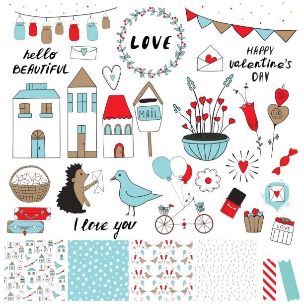 valentinstag-set - graffiti schriftarten stock-grafiken, -clipart, -cartoons und -symbole