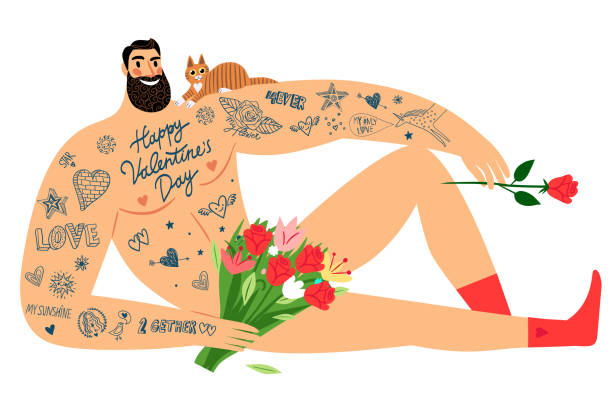 valentine's day sexy men with tattoos, flowers and cat. - zmysłowość stock illustrations