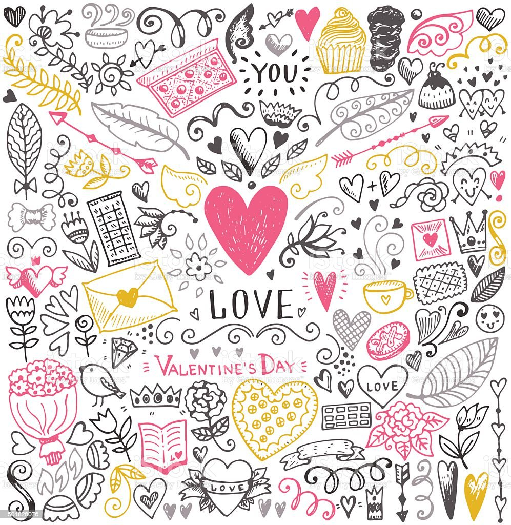 Valentines day sketch pattern vector art illustration