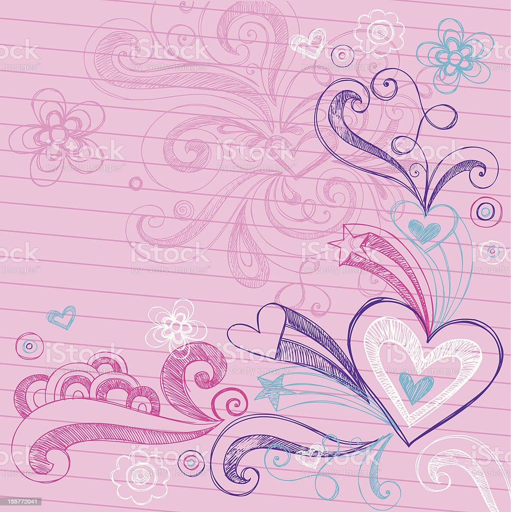 Valentine's Day Sketchy Heart Doodle Design Elements royalty-free stock vector art