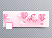 Valentine's day social media header or banner design with paper origami of hot air balloons and cute couple illustration on stripe background.