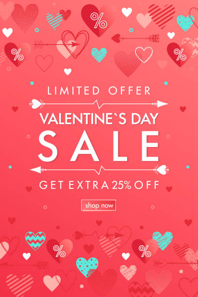 valentines day special offer banner - valentines day stock illustrations