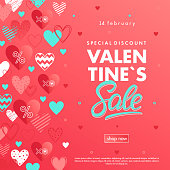 Valentines Day special offer banner with different hearts.Sale flyers templates perfect for prints, flyers, banners, promotions, special offers and more. Vector Valentines Day promotions.