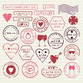 Valentine's Day stamps set