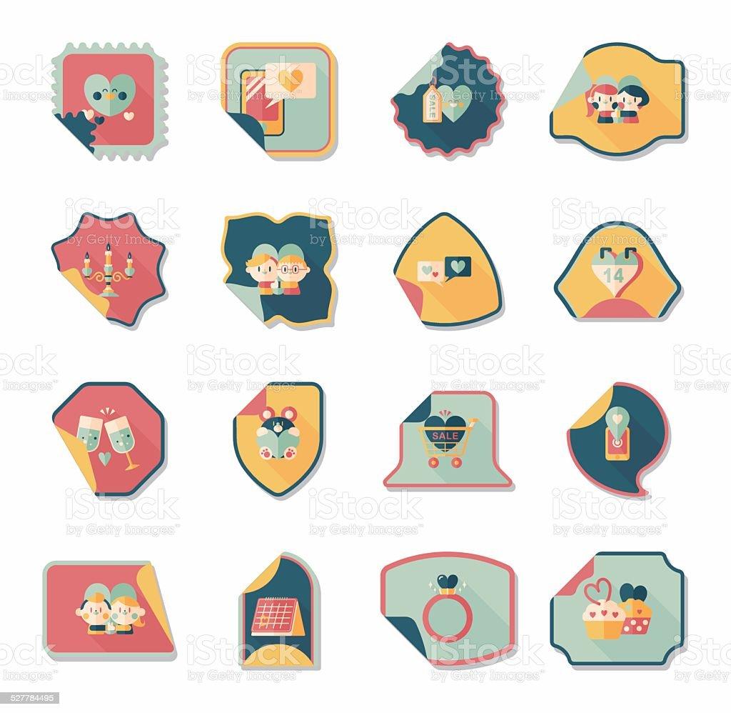 Ilustração De Banner Do Dia Dos Namorados De Adesivos Design Plano