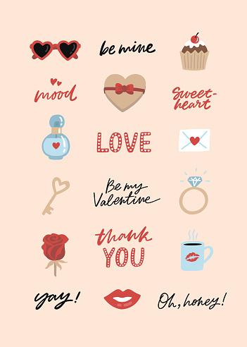 Valentine's Day sticker pack.