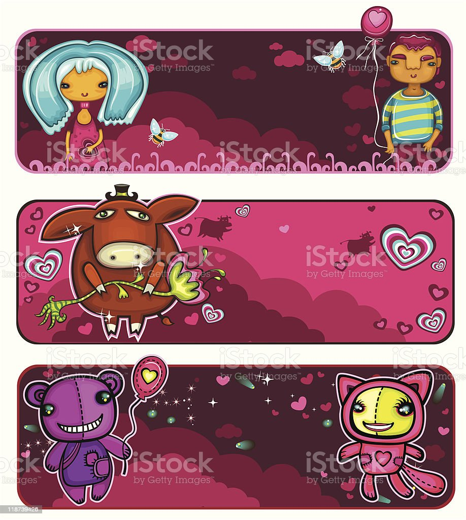 Valentine's Day sunset banners royalty-free stock vector art