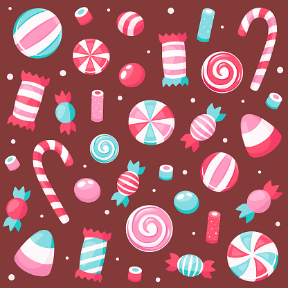 Valentine's Day sweets and candies. Vector illustration.