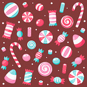 istock Valentine's Day sweets and candies. Vector illustration. 1296039291