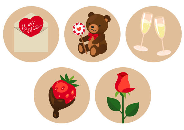 Valentine's Day symbols vector art illustration