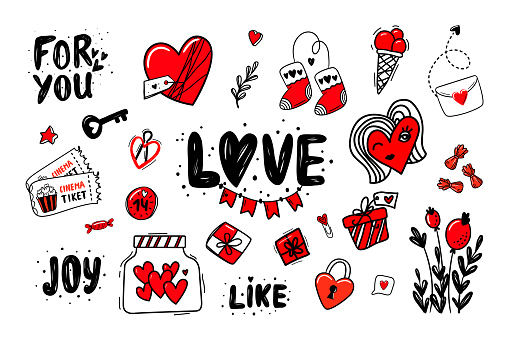 Valentine's Day theme doodle big set. Romantic symbols heart shapes, key, tickets, arrows, gift box, for you letters, love letters, candys. Freehand vector drawing for postcard or banner