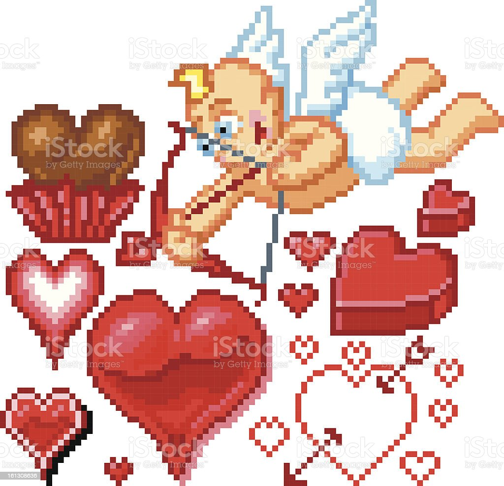 Valentine's Day Themed Pixel Art Icons royalty-free valentines day themed pixel art icons stock vector art & more images of 1980-1989