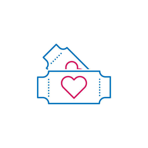 valentine's day, tickets icon. can be used for web, logo, mobile app, ui, ux - date night stock illustrations