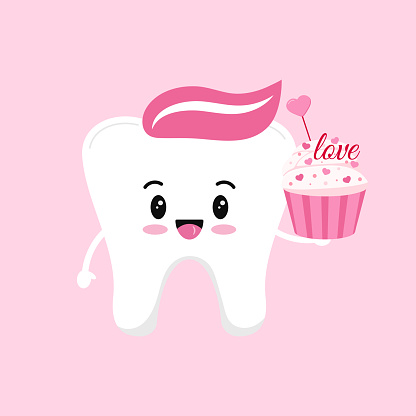 Valentines day tooth with cupcake dental icon isolated on background.